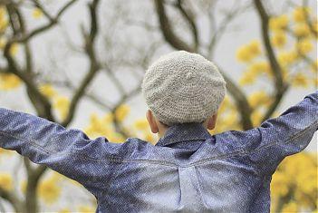 Jongen op de rug gezien met jeansshirt aan voor een boom met gele bladeren